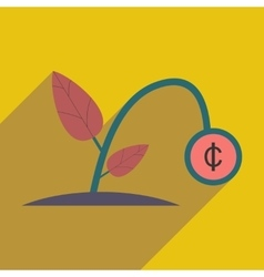 Modern flat icon with shadow money plant vector