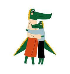 Mother crocodile hugging her kid loving parent vector