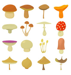 mushroom types icons set cartoon style vector image