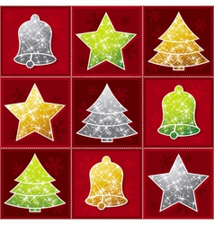 nine christmas toy over red background vector image