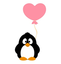 Penguin with balloon vector