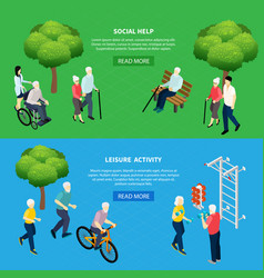 pensioners isometric banners vector image