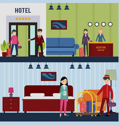 People in hotel horizontal banners vector