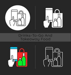 Phone drinks ordering dark theme icon vector