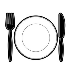 plate with fork an knife vector image