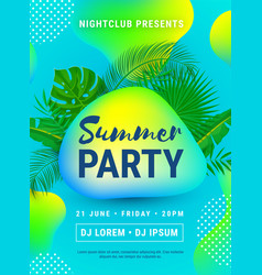 Poster summer beach party neon vector