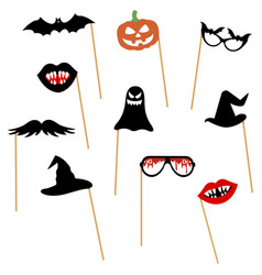 pumpkin mustache bat glasses hat lips ghost vector image