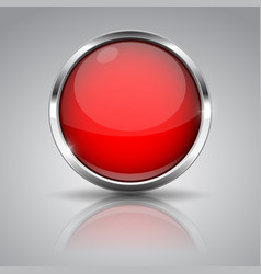 red button with chrome frame on gray background vector image