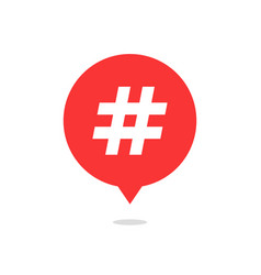 Red speech bubble with hash tag and shadow vector