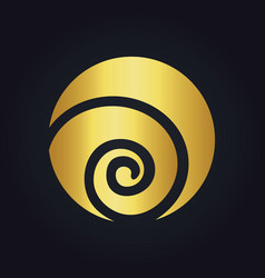 Round circle swirl ecology gold logo vector