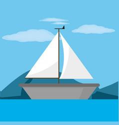 Sailboat and sea design vector