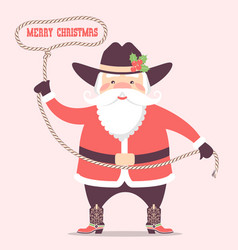 santa claus with cowboy western hat and boots vector image
