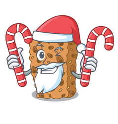 Santa with candy granola bar mascot cartoon vector