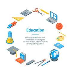 school equipments and tools banner card circle vector image