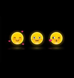 Set emoticons or emoji 3d vector