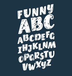 set hand drawn alphabet fonts vintage vector image