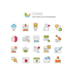 Set line icons programming vector