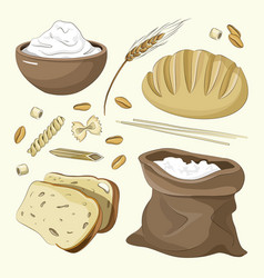 Set of food products from wheat and flour vector