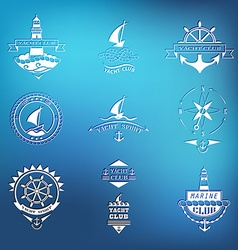 Set of yacht club logos on blurred background vector image