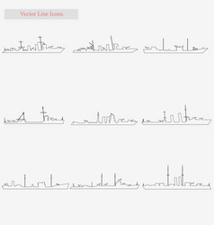 ship set style line icons on white vector image