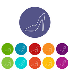 shoe icons set color vector image