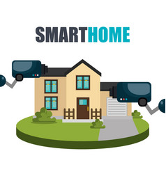 Smart home technology with cctv camera vector