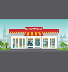 supermarket store concept with people in vector image