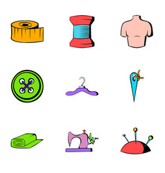 Tailoring icons set cartoon style vector