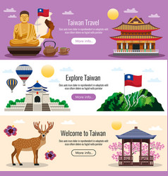 taiwan travel banners vector image