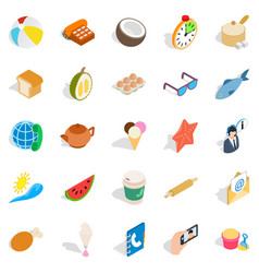 tea time icons set isometric style vector image