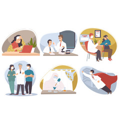 Team doctors medical workers with patients vector