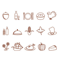 Thanksgiving outline icons set vector