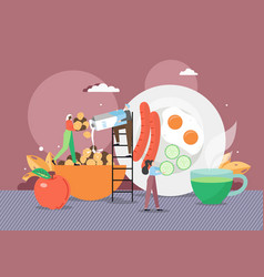 tiny female cartoon characters chefs cooking vector image