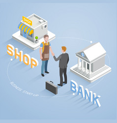 Two businesspeople handshake vector