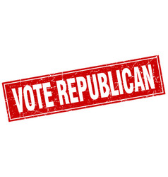 Vote republican red square grunge stamp on white vector