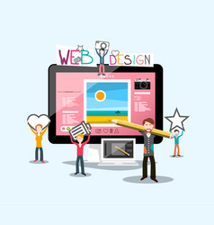 web design concept with graphic designers vector image