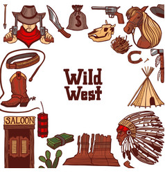 Wild west template in hand drawn style vector
