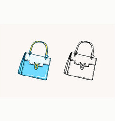 women bag vintage style hand drawn doodle vector image