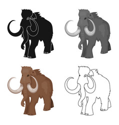 woolly mammoth icon in cartoon style isolated on vector image