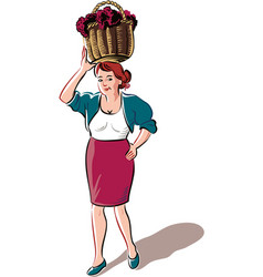 young woman with a basket filled with freshly vector image