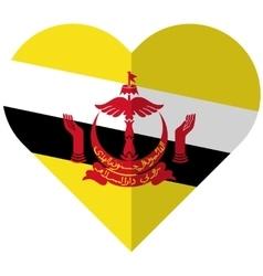 Brunei flat heart flag vector image vector image