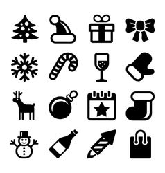 Christmas Icons Set on White Background vector image vector image