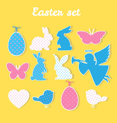 easter set with angel egg butterfly heart vector image vector image