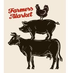 farm animals livestock farming husbandry cattle vector image vector image