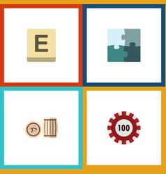 flat icon entertainment set of lottery mahjong vector image vector image