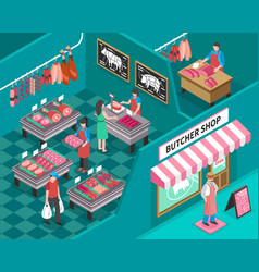 meat shop isometric vector image vector image