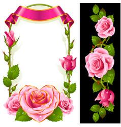 set of floral decoration pink roses green leaves vector image