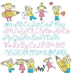 vecrot children calligraphy letters with boy and g vector image vector image