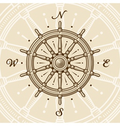 Vintage ship wheel vector image