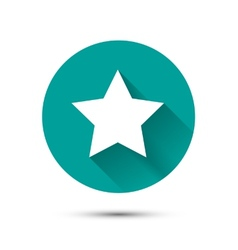White star icon on green background with shadow vector image vector image